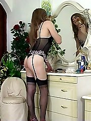 Wearing female lingerie sissy guy begs his girl for some strap-on treat