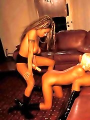 Pretty interracial lesbian chicks having intensive strapon dildofuck threesome