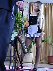 Pretty maid puts on a strapon harness and bangs her master for extra cash
