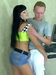 Sporty chick straps on her bulbed toy to give a guy a hot oral-anal workout