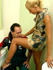 Sultry chick with strap-on seducing worker into mind-blowing ass-pounding