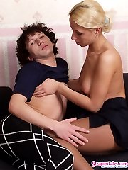 Horny guy tongue-tickling perky nipples and mounting on babes strap-on