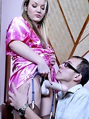 Perverted geek wildly enjoys role swapping with female strapon domination