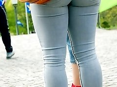 Horny tight jeans girl on the stairs