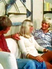 Retro blonde lady in trio