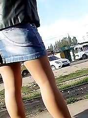 Amateur was flashing up skirt thong