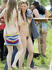 Naked people at the amateur nudists festival