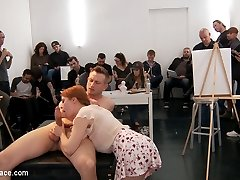 Slutty redhead art student Penny Pax gets publicly fucked and humiliated in front of shocked art students. Bill Bailey punishes this anal whore with corporal, rope bondage, and fucks her in every hole. He then makes this slut suck stranger cock and get covered in cum. Finally everyone laughs and humiliates Penny while being fucked in suspension. Pencil me in for next week red!