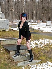 Happy Halloween as dirty tease Sabrina flashes her tits and tight pink pussy in a graveyard