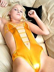 blonde teen in a shiny yellow bikini