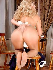 Heated French maid toying her burning beaver after breathtaking foot play