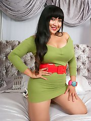 Asian MILF Amy and plays in the bedroom in some tan seamless pantyhose, teasing in her apple...