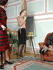 Lewd teacher whipping coeds craving to get her nyloned muff licked in 3sum