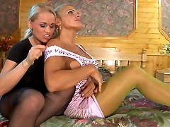 Blonde lesbians in exclusive colored pantyhose wake up for lez pussy play
