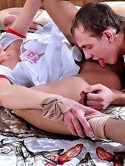 Kinky couple enjoys uniform nylon sex kissing and fucking through pantyhose