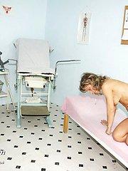 Blonde mature Vladimira gyno pussy speculum examination at gyno clinic
