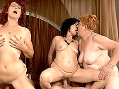 Three mature sluts get fucked by two horny men