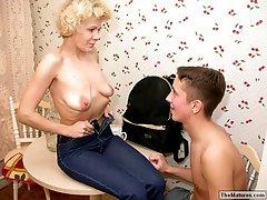 Horny grandma seducing guy