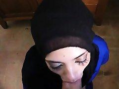 Very Hot Hooded Teen Arab On Her Knees Sucky Sucky