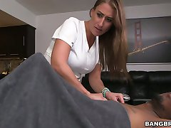 Horny client fucks pussy and throat of sexy red haired masseuse Skyler Luv