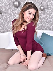 Rosie presents herself like a well dressed modern young woman in her ivory pantyhose!