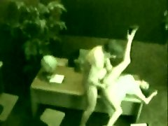 Security cam footage of a girl getting fucked on a desk