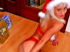 Hot teenage Christmas fairy in sexy pantyhose