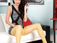 Superb imported canary yellow sheer to waist pantyhose and a stunning mini dress and stiletto...