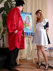 Young maid polishing old professors dick getting finished with big cumshot