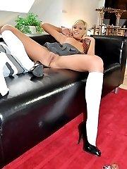 Blonde schoolgirl undresses