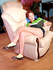 Leggy ponytailed redhead readily joins a smart older lady for pink lunch