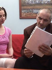 Cute brunette coed asks her calculus teacher for an individual lesson and turns it into a filthy sexual orgy