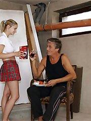 Senior feeding a teen cum