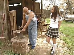 Schoolgirl Daniella Rush gets a hard dick to fuck on the farm