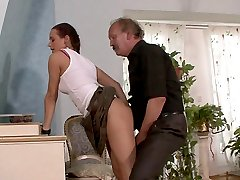 Smart old horny father gets a piece of his sons gf ass by hiding in the bathroom