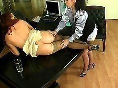 Young secretary spread on the desk by a hungry for fresh pussy lesbian milf
