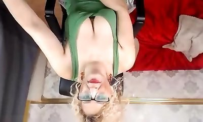 Policewomans striptease in stockings