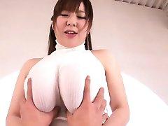 Ran Niiyama shakes huge tits in fucking