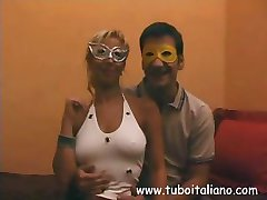 Anca and Giorgio are just half of this Italian  masked fuck fest clip