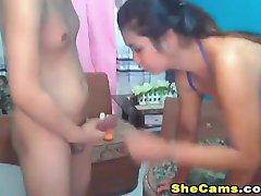 Hottie Sexy Shemale Duo Cumming Hard