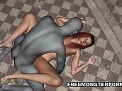Busty 3D Babe Sucks and Fucks a Zombie