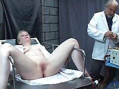 Innocent thick chick is probed and fucked by mad doctor in dungeon