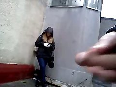 Cumshot in front of nice girl on street