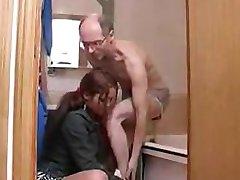 bathtub sex between hot brunette and older man
