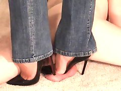 Cock crush under designer heels