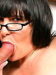 Sleazy BBW brunette has her friends husband eat cream off her massive jugs