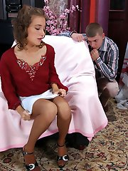 Cutie teasing guy with her soft silky pantyhose till frenzied cock-riding