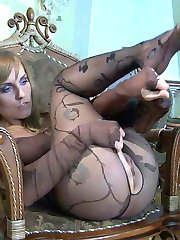 Red-haired lesbo cheater indulges her pantyhose fetish with guys and girls