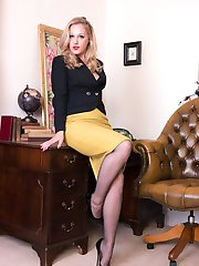 You are ready to do business, just needs an offer from Aston to swing it...so she puts herself in sheer black pantyhose on the bargaining table and have you ready to sign anything!