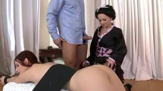 Super sexy office babe in glasses Claudia Rossu sucking and riding a big cock on the desk